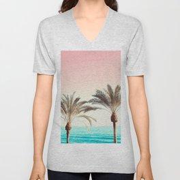 Modern California Vibes pink sky blue seascape tropical palm tree beach photography Unisex V-Neck