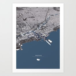Chicago City Map II Art Print