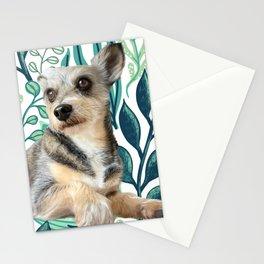 Green Leaf Puppy Stationery Cards