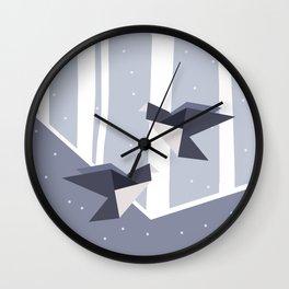 Elegant Origami Birds Abstract Winter Design Wall Clock