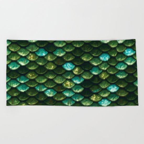 Aqua and green sparkling mermaid glitter scales- Mermaidscales Beach Towel