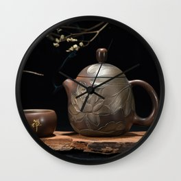 Japanese Teapot with Lotus Blossom Flower Wall Clock