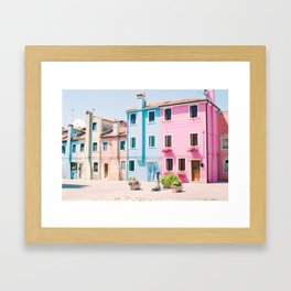Colorful houses in Burano Framed Art Print