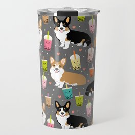 Corgi boba tea bubble tea kawaii food welsh corgis dog breed gifts Travel Mug