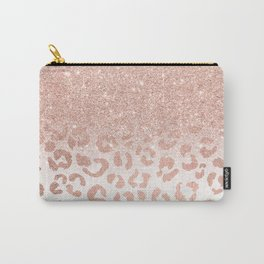 Trendy modern faux rose gold glitter ombre leopard pattern Carry-All Pouch