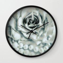 Rose Flower & Pearls Modern Cottage Decor Modern Country Art A483 Wall Clock