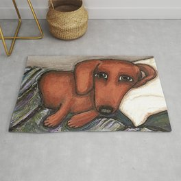 Dachshund on the pillow Rug