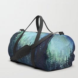 Galaxy Watercolor Aurora Borealis Painting Duffle Bag