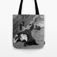 greek Tote Bags featuring Greek Dogs by Upperleft Studios