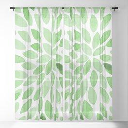 Watercolor brush strokes -  summer green Sheer Curtain