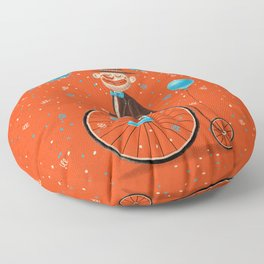 Penny-farthings circus Floor Pillow