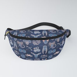 Geometric astrology zodiac signs // navy blue and coral Fanny Pack