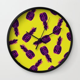 Modern pink Pineapple pattern design - pink yellow Wall Clock