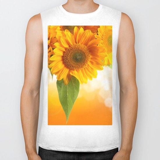 Nice Sunflowers Biker Tank