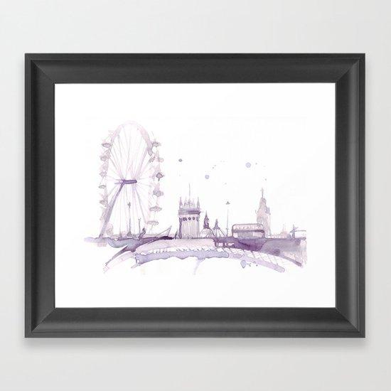 Watercolor landscape illustration_London Eye Framed Art Print