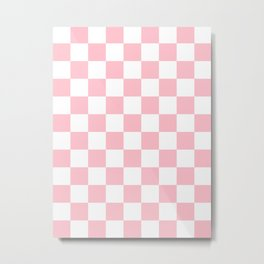 Checkered - White and Pink Metal Print