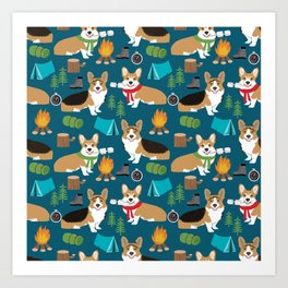 Corgi camping marshmallow roasting corgis outdoors nature dog lovers Art Print