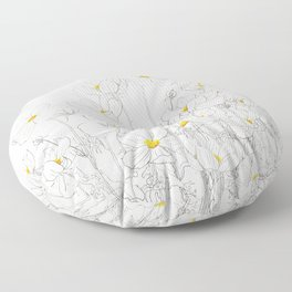 white cosmos flowers  ink and watercolor Floor Pillow