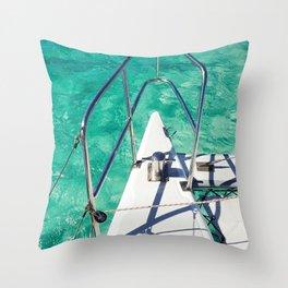 Catamaran green water Throw Pillow
