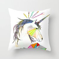 unicorn Throw Pillows featuring Unicorn by Belén Segarra