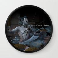 derek hale Wall Clocks featuring Derek the angry baker - Teen Wolf by Justyna Rerak