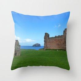 Bass Rock from Tantallon Castle, North Berwick, Scotland Throw Pillow