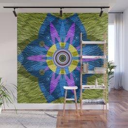 Moss Green & Indigo GOlden Eye Meditation Boho Floral Mandala Wall Mural