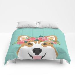 Corgi Portrait - dog with flower crown cute corgi dog art print Comforters