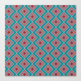 Check Pattern Teal #homedecor #retro Canvas Print