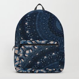 Mandala in light and dark blue tones Backpack
