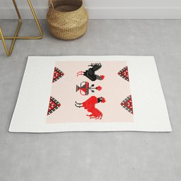 Two roosters romanian motifs Rug