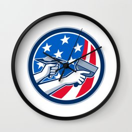 American Drywall Repair Service Flag Circle Retro Wall Clock