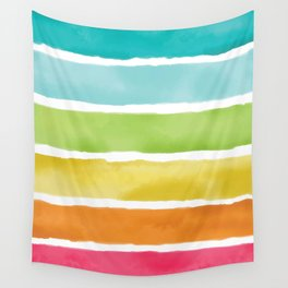 Watercolor Rainbow Stripes Wall Tapestry