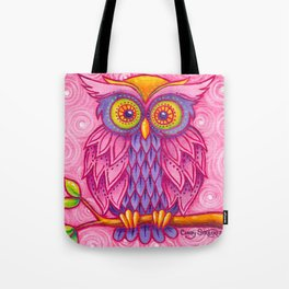 Owl in Pink Tote Bag