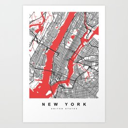 New York Map | White & Red Colors Art Print