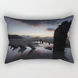 Sunset over the Helvetia at Rhossili Bay Rectangular Pillow
