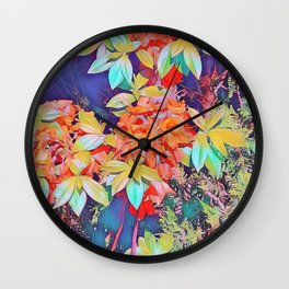 orange rhododendron Wall Clock