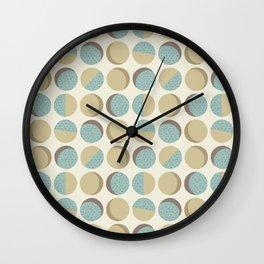 Mod Circles in Aqua and Tan Wall Clock