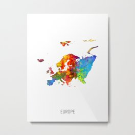 Europe Watercolor Map Metal Print