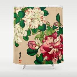 Vintage Japanese Camellias. Deep Pink on Beige Shower Curtain