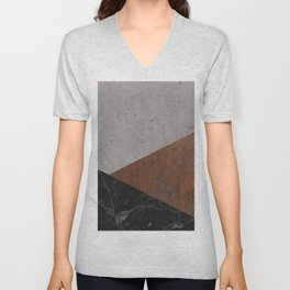 Concrete, Rusted Iron, Marble Abstract Unisex V-Neck