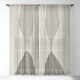 Minimal Monochrome Landscape Reflections Sheer Curtain