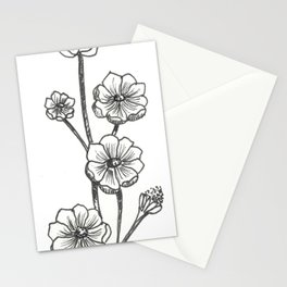 Hand-drawn floral lineart Stationery Cards