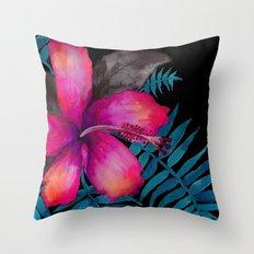 Pink Hibiscus Flower - BLACK Throw Pillow