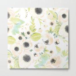 Light Watercolored Floral Pattern Metal Print