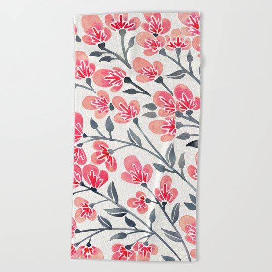 Cherry Blossoms – Pink & Black Palette Beach Towel
