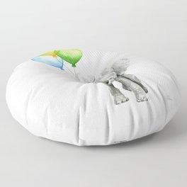 Elephant with Three Balloons Floor Pillow