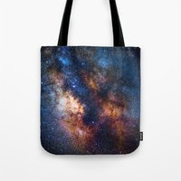 milky way Tote Bags featuring Milky Way by Zavu