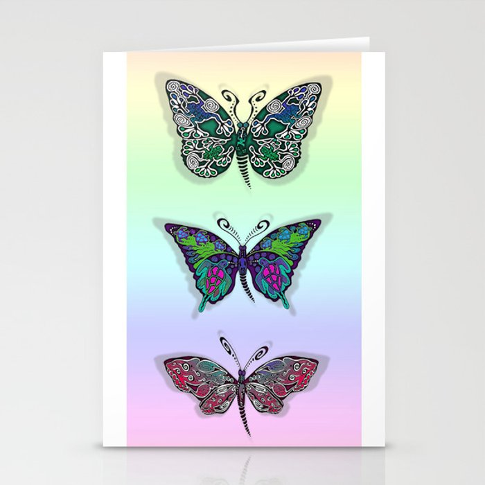 Rainbow Butterflys Stationery Cards