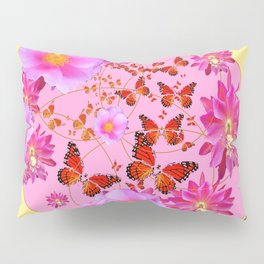 Monarch Butterfly Floral Cream-grey  Abstract Pillow Sham